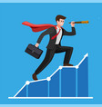 businessman with cloak using telescope on graphic vector image vector image