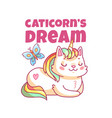 cat unicorn poster cute cartoon capricorn funny vector image