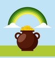 cauldron with golden coins green rainbow clouds vector image vector image