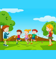 children jumping rope in the park vector image vector image