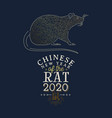 chinese new year rat 2020 gold asian line art vector image vector image