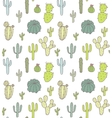 Cute cacti pattern seamless vector image
