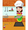 cute mom cartoon cook in the kitchen vector image vector image