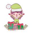 cute santa helper with gifts and wreath vector image