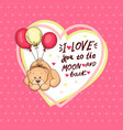 cute valentine teddy bear with big heart vector image vector image
