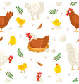 easter chicken seamless pattern funny laying hens vector image