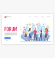 forum landing page flat template vector image vector image