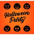 Halloween Party hand written lettering card with vector image