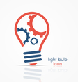 light bulb idea icon with three gears vector image vector image