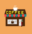 man standing in front of a brown coffee shop vector image