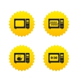 Microwave oven icons Cook in electric stove vector image