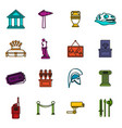 museum icons doodle set vector image vector image