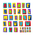 new font cut colorful letters lower case vector image vector image