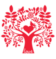 One color love message tree with birds vector image vector image