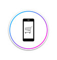 online shopping concept shopping cart on screen vector image vector image