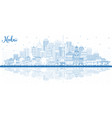 outline hubei province in china city skyline with vector image vector image