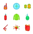 Paintball icons set cartoon style vector image vector image