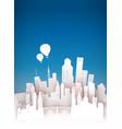 paper cut 3d city skyline landscape background vector image