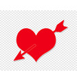 pierced heart red love sign valentine day symbol vector image vector image