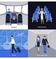 Pilot And Stewardess 4 Flat Icons vector image