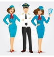 pilot and two stewardesses in uniform vector image vector image