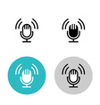 Podcast icon set Black studio table microphone vector image