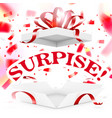 realistic surprise gift box with falling confetti vector image vector image