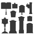 retro postboxes monochrome silhouettes vector image vector image