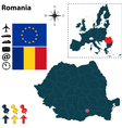 Romania and European Union map vector image vector image