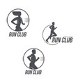 run club logo set with man and woman silhouettes vector image vector image