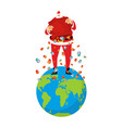 santa claus on earth christmas on planet big red vector image vector image