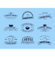 set coffee logo with ribbons vector image vector image