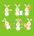 set cute easter rabbits with easter eggs and vector image