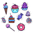set of cute kawai sweets and confection object vector image vector image