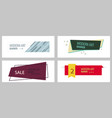 set of flat linear promotion ribbon banner scroll vector image
