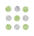 set tropical plant green leaves logo round bio vector image vector image