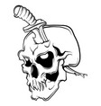 skull with a knife and white vector image