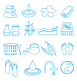 spa and relaxation simple blue outline icons set vector image