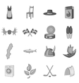 Sweden icons set gray monochrome style vector image vector image