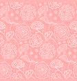 tender coral pattern with outline spring flowers vector image