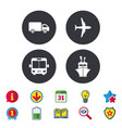 Transport icons truck airplane bus and ship