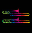 trombone instrument cartoon music graphic vector image vector image