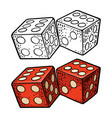 two white dice vintage color engraving vector image