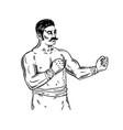 vintage boxer engraving vector image