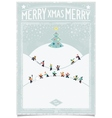 Vintage christmas card with playing child vector image vector image