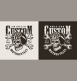 vintage monochrome custom motorcycle shop logo vector image vector image