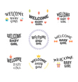 Welcome baby girl Baby shower design Baby girl vector image vector image