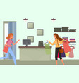 woman with a hangers with t-shirts goes shopping vector image