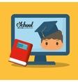 cartoon boy red book computer school vector image