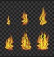 fire set on transparent background vector image